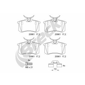 Bremsbelagsatz, Scheibenbremse Höhe: 52,8mm, Dicke/Stärke: 17,2mm mit OEM-Nummer 1J0698451P
