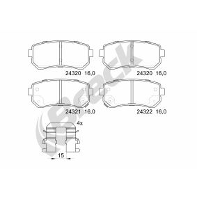 Brake Pad Set, disc brake Height: 41,00mm, Thickness: 16,00mm with OEM Number 58302-4WA10