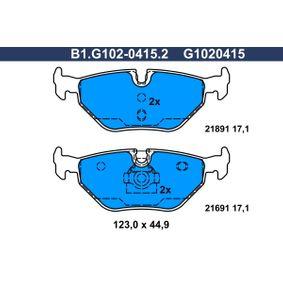 Bremsbelagsatz, Scheibenbremse Breite: 123,0mm, Höhe: 44,9mm, Dicke/Stärke: 17,1mm mit OEM-Nummer 34212157591