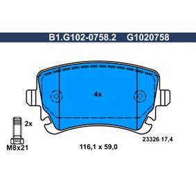 Bremsbelagsatz, Scheibenbremse Breite: 116,1mm, Höhe: 59,0mm, Dicke/Stärke: 17,4mm mit OEM-Nummer 4F0 698 451C