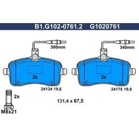 Bremsbelagsatz, Scheibenbremse Breite: 131,4mm, Höhe: 67,5mm, Dicke/Stärke: 19,6mm mit OEM-Nummer 1611456580