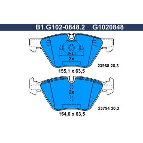 Bremsbelagsatz, Scheibenbremse Breite 1: 155,1mm, Breite 2: 154,6mm, Höhe 2: 63,5mm, Dicke/Stärke: 20,3mm mit OEM-Nummer 3411 6797 859