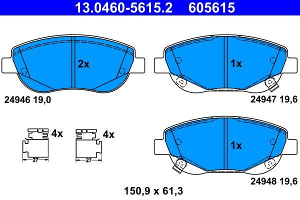 ATE  13.0460-5615.2 Bremsbelagsatz, Scheibenbremse Breite: 150,9mm, Höhe: 61,3mm, Dicke/Stärke 1: 19,0mm, Dicke/Stärke 2: 19,6mm