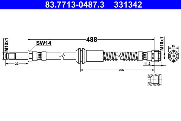 ATE  83.7713-0487.3 Bremsschlauch Länge: 488mm, Außengewinde: M10x1mm