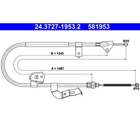 Cable, parking brake Article № 24.3727-1953.2 £ 140,00