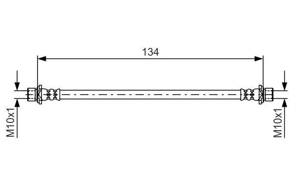 BOSCH  1 987 481 637 Bremsschlauch Länge: 134mm, Innengewinde 2: M10x1mm