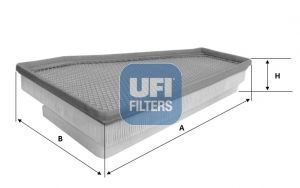 UFI  30.600.00 Luftfilter Länge: 319mm, Breite: 225mm, Höhe: 60mm, Länge: 319mm
