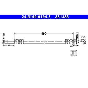 Bremsschlauch Länge: 190mm, Außengewinde: M10x1mm mit OEM-Nummer 7H0 611 776B
