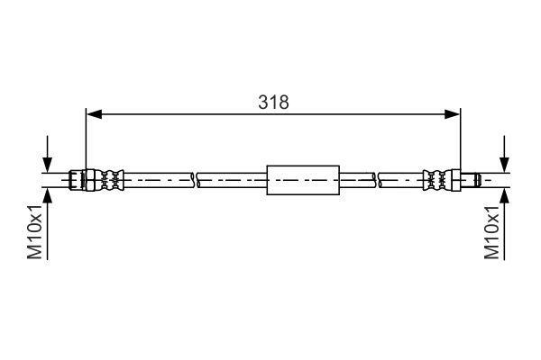 BOSCH  1 987 481 618 Bremsschlauch Länge: 318mm, Innengewinde: M10x1mm