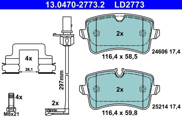 ATE Ceramic 13.0470-2773.2 Bremsbelagsatz, Scheibenbremse Breite 1: 116,4mm, Breite 2: 116,4mm, Höhe 1: 58,5mm, Höhe 2: 59,8mm, Dicke/Stärke: 17,4mm