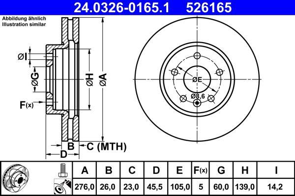 ATE PowerDisc 24.0326-0165.1 Bremsscheibe Bremsscheibendicke: 26,0mm, Lochanzahl: 5, Ø: 276,0mm