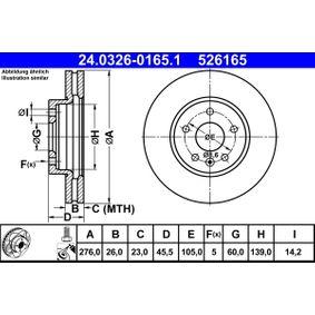 ATE PowerDisc 24.0326-0165.1 Disc frana Grosime disc frana: 26,0mm, Num. gauri: 5, Ř: 276,0mm