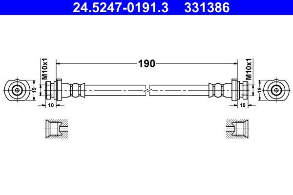 ATE  24.5247-0191.3 Bremsschlauch Länge: 190mm, Innengewinde 1: M10x1mm