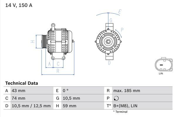 Lichtmaschine 0 986 082 580 BOSCH 8258 in Original Qualität