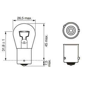 Bulb, indicator PY21W, BAU15s, 12V, 21W 1 987 302 812 MERCEDES-BENZ C-Class, A-Class, B-Class