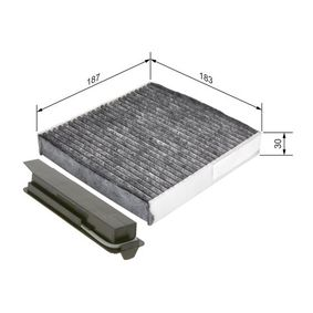 Filter, interior air Length: 205,5mm, Width: 181mm, Height: 28mm with OEM Number 77 11 426 872