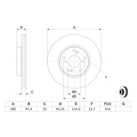 Brake Disc Brake Disc Thickness: 23mm, Num. of holes: 5, Ø: 282mm with OEM Number 45251S87A00