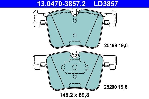 ATE Ceramic 13.0470-3857.2 Juego de pastillas de freno Ancho: 148,2mm, Altura: 69,8mm, Espesor: 19,6mm