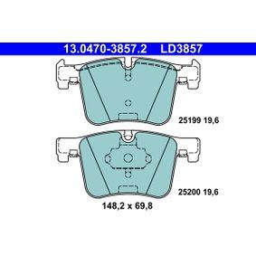 ATE Ceramic 13.0470-3857.2 Bremsbelagsatz, Scheibenbremse Breite: 148,2mm, Höhe: 69,8mm, Dicke/Stärke: 19,6mm