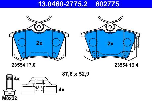 ATE  13.0460-2775.2 Bremsbelagsatz, Scheibenbremse Breite: 87,6mm, Höhe: 52,9mm, Dicke/Stärke 1: 17,0mm, Dicke/Stärke 2: 16,4mm