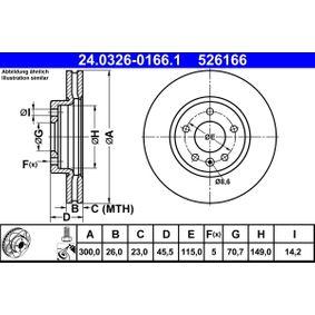 ATE PowerDisc 24.0326-0166.1 Bremsscheibe Bremsscheibendicke: 26,0mm, Lochanzahl: 5, Ø: 300,0mm
