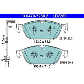 ATE Ceramic 13.0470-7280.2 Bremsbelagsatz, Scheibenbremse Breite: 193,0mm, Höhe 1: 71,0mm, Höhe 2: 74,0mm, Dicke/Stärke: 20,3mm