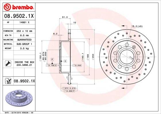 Bremsscheiben 08.9502.1X BREMBO 08.9502.1X in Original Qualität
