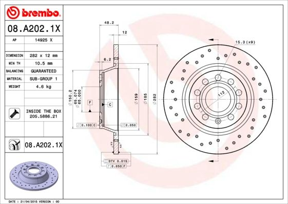 Article № 08.A202.1X BREMBO prices