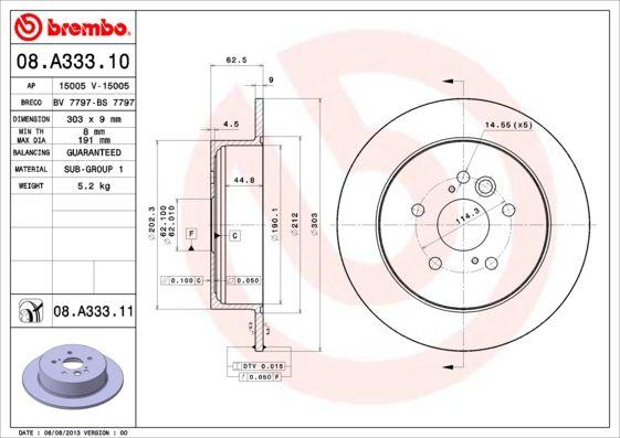Discos de Freno 08.A333.11 BREMBO 08.A333.11 en calidad original