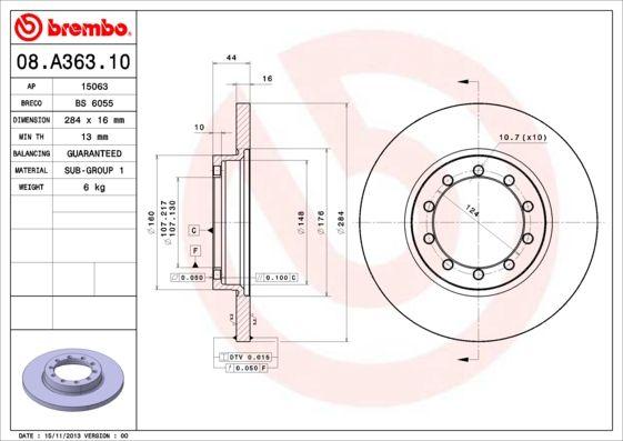 Brake Discs 08.A363.10 BREMBO 08.A363.10 original quality