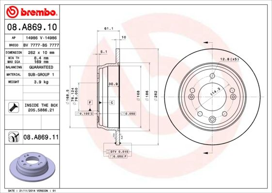 08.A869.11 BREMBO from manufacturer up to - 20% off!