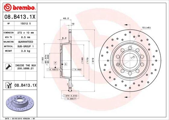 BREMBO 08.B413.1X EAN:8020584212332 Shop