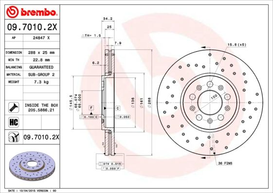 09.7010.2X BREMBO from manufacturer up to - 20% off!