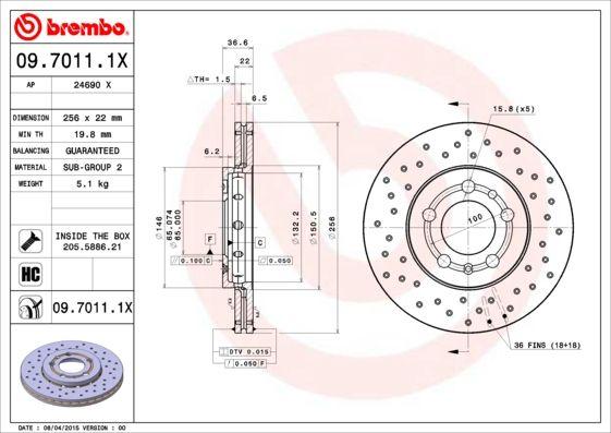BREMBO 09.7011.1X EAN:8020584212462 Shop