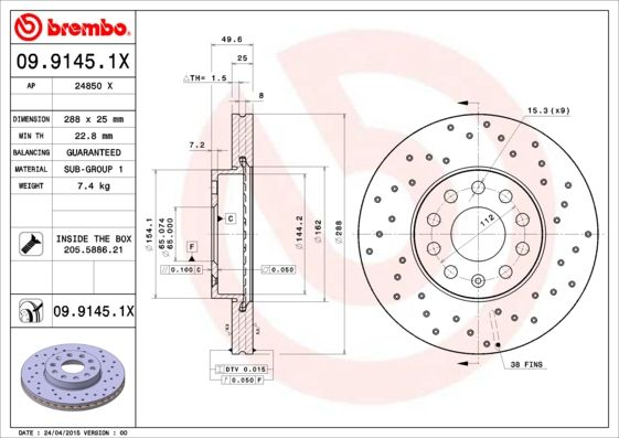 09.9145.1X BREMBO from manufacturer up to - 28% off!