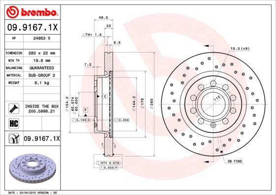 Brake Discs 09.9167.1X BREMBO 09.9167.1X original quality