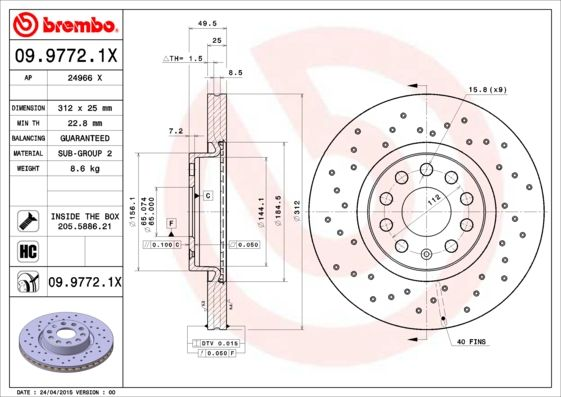 09.9772.1X BREMBO from manufacturer up to - 25% off!