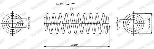MONROE  SP3971 Fahrwerksfeder Länge: 297mm, Länge: 297mm, Länge: 297mm, Ø: 121mm