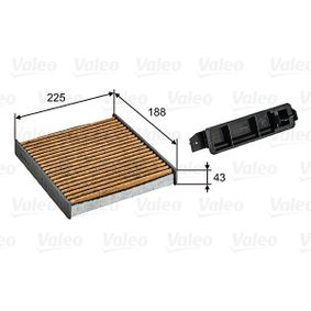 Filter, interior air Length: 188mm, Width: 225mm, Height: 43mm with OEM Number 7711426872