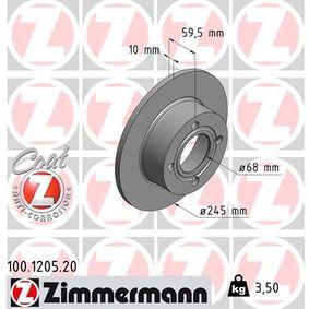 ZIMMERMANN Bremsscheibe 100.1205.20 für AUDI 100 (44, 44Q, C3) 1.8 ab Baujahr 02.1986, 88 PS