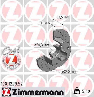 ZIMMERMANN SPORT COAT Z 100.1229.52 Bremsscheibe Bremsscheibendicke: 10mm, Lochanzahl: 5, Ø: 245mm