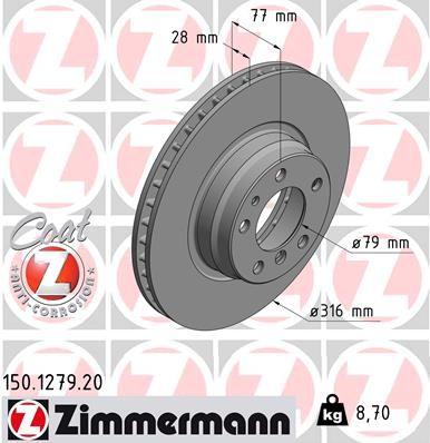 ZIMMERMANN COAT Z 150.1279.20 Bremsscheibe Bremsscheibendicke: 28mm, Felge: 5-loch, Ø: 316mm