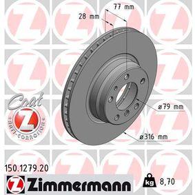 Bremsscheibe Bremsscheibendicke: 28mm, Felge: 5-loch, Ø: 316mm mit OEM-Nummer 34 111 162 093