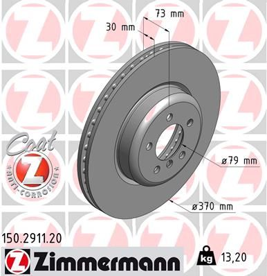 ZIMMERMANN COAT Z 150.2911.20 Bremsscheibe Bremsscheibendicke: 30mm, Felge: 5-loch, Ø: 370mm
