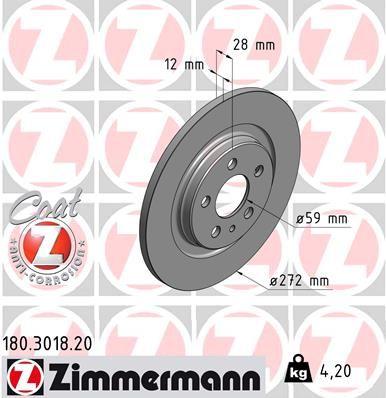 ZIMMERMANN COAT Z 180.3018.20 Bremsscheibe Ø: 272mm