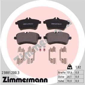 Brake Pad Set, disc brake Width: 132mm, Height: 70mm, Thickness: 20mm with OEM Number A169 420 01 20