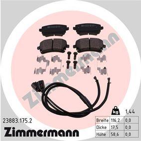 Bremsbelagsatz, Scheibenbremse Breite: 116,2mm, Höhe: 58,6mm, Dicke/Stärke: 17,5mm mit OEM-Nummer 3D0 698 451