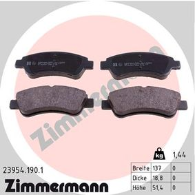 ZIMMERMANN  23954.190.1 Brake Pad Set, disc brake Width: 137mm, Height: 51,4mm, Thickness: 18,8mm