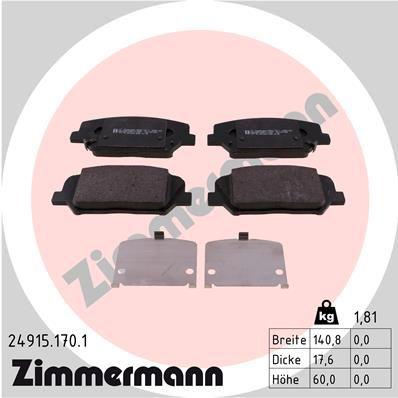 ZIMMERMANN  24915.170.1 Bremsbelagsatz, Scheibenbremse Breite 1: 140,8mm, Höhe: 60mm, Dicke/Stärke 1: 17,6mm