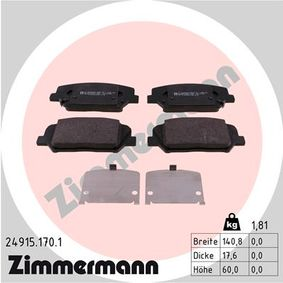 Bremsbelagsatz, Scheibenbremse Breite 1: 140,8mm, Höhe: 60mm, Dicke/Stärke 1: 17,6mm mit OEM-Nummer 58101 2TA61